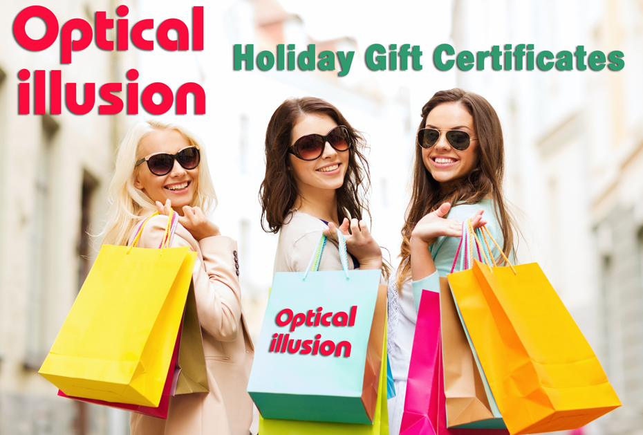 Beautiful girls in designer sunglasses holiday shopping buying gift certificates at Optical Illusion Del Mar.
